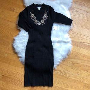 Say What? Black knit bodycon dress Jr L NWT